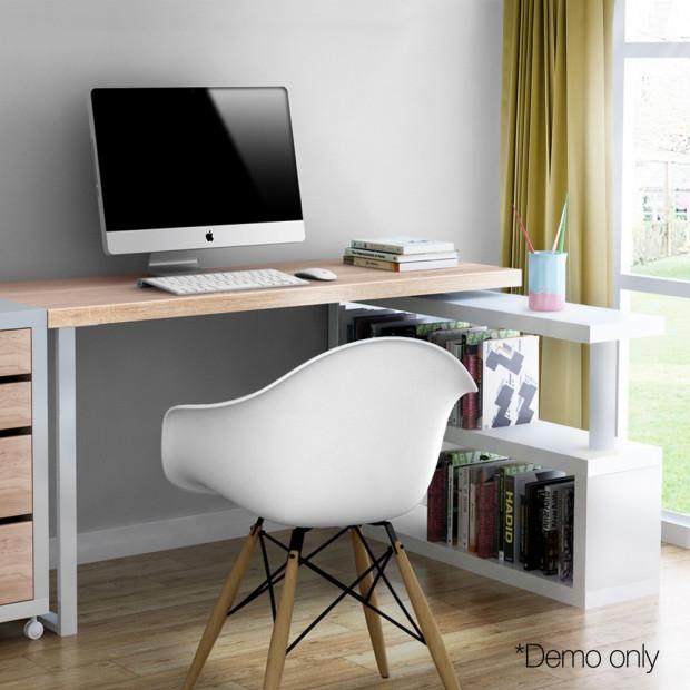 Corner Desk with Bookshelf - Brown & White Image 8