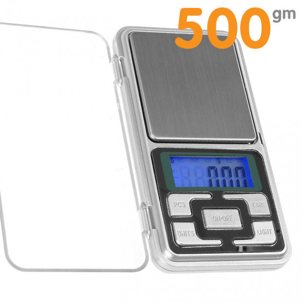 Digital pocket scales 500gm x 0.01 with hinged cover