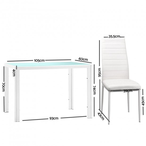 5 Piece Dining Table Chair Set - White Image 1