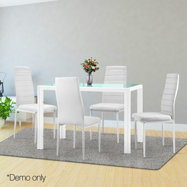 5 Piece Dining Table Chair Set - White Image 7