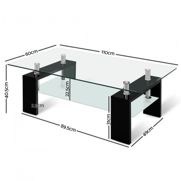 2 Tier Glass Coffee Table - Black Image 2