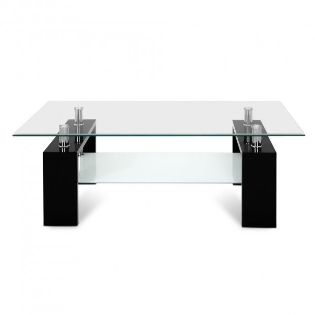 2 Tier Glass Coffee Table - Black Image 3