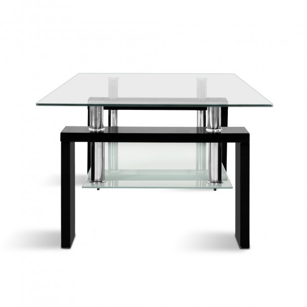 2 Tier Glass Coffee Table - Black Image 4