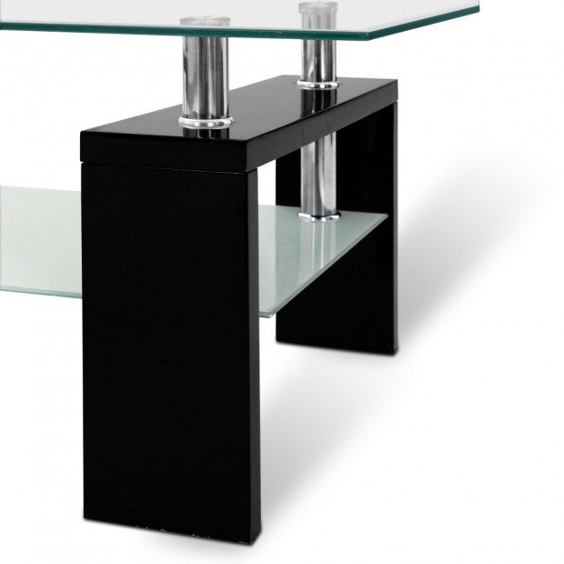 2 Tier Glass Coffee Table - Black Image 6