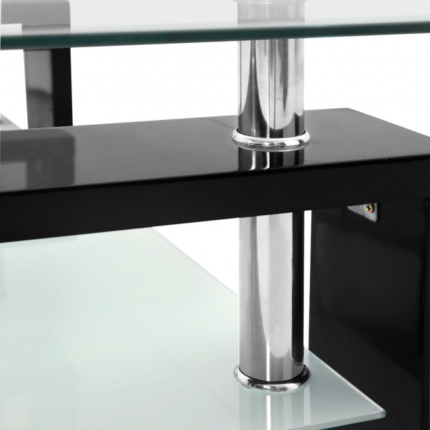 2 Tier Glass Coffee Table - Black Image 7