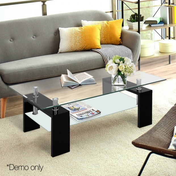 2 Tier Glass Coffee Table - Black Image 9
