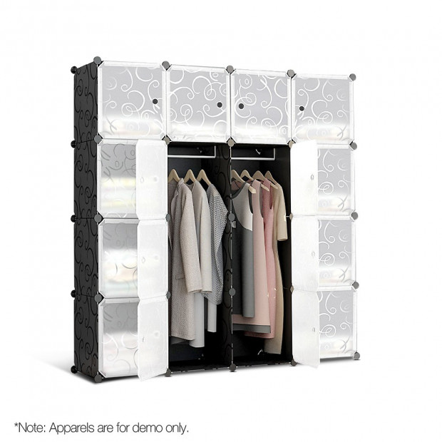 16 Stackable Cube Storage Cabinet - Black & White