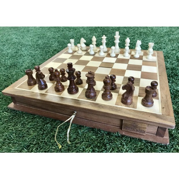 Portable Carved Wooden Chess And Checker Board Set Image 5