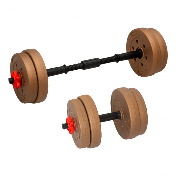 Powertrain Adjustable 20kg Home Gym Dumbbell Barbell Weights Gold