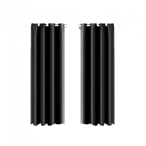 1 Pair Blockout Curtains Panels Black 140x244cm