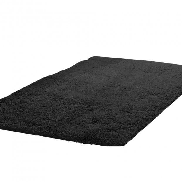 New Designer Shaggy Floor Confetti Rug Black 120x160cm