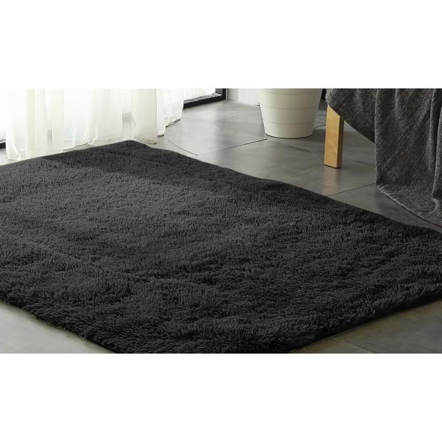 New Designer Shaggy Floor Confetti Rug Black 160x230cm
