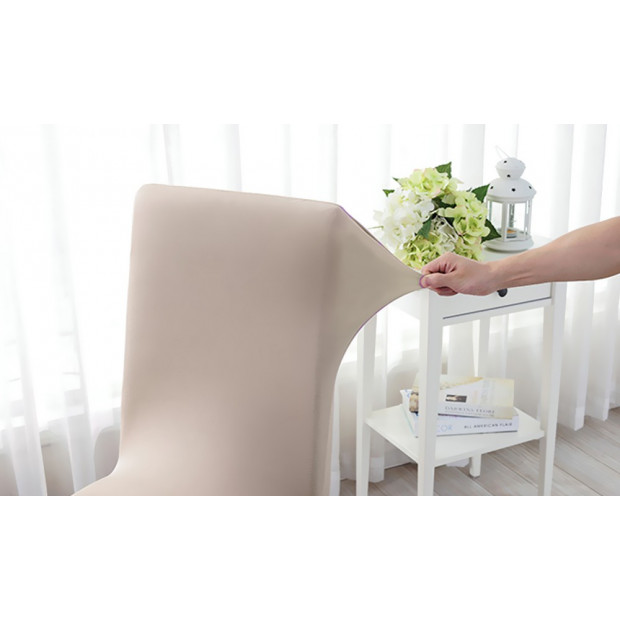 4pcs Stretch Elastic Dining Room Washable Chair Cover Grey Image 1