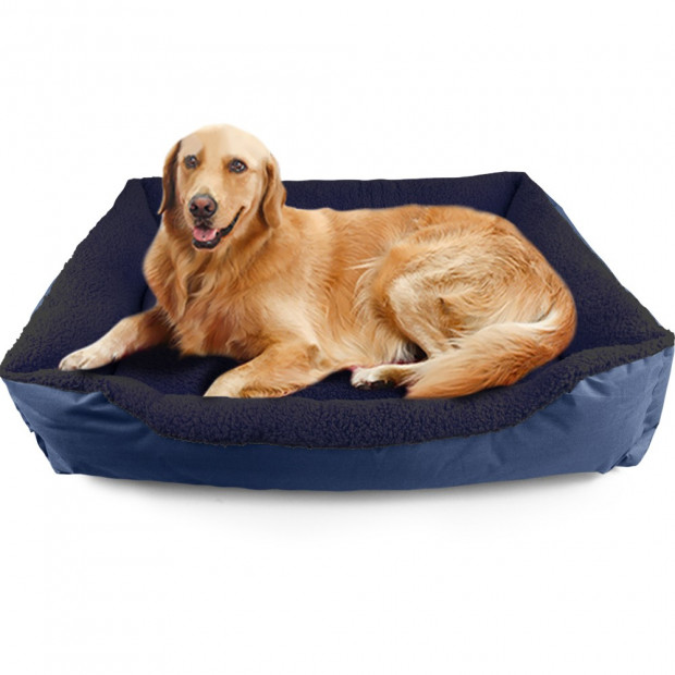 Deluxe Soft Washable Dog Cat Pet Warm Basket Bed Blue Xxl