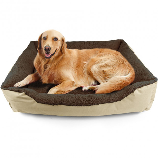 Deluxe Soft Washable Dog Cat Pet Warm Basket Bed Cream Xl