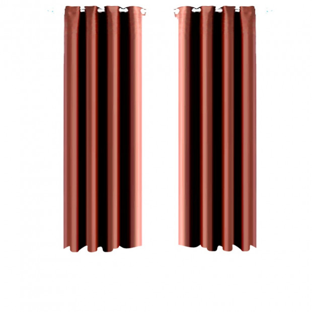 1 Pair Blockout Curtains Panels Chocolate 140x244cm