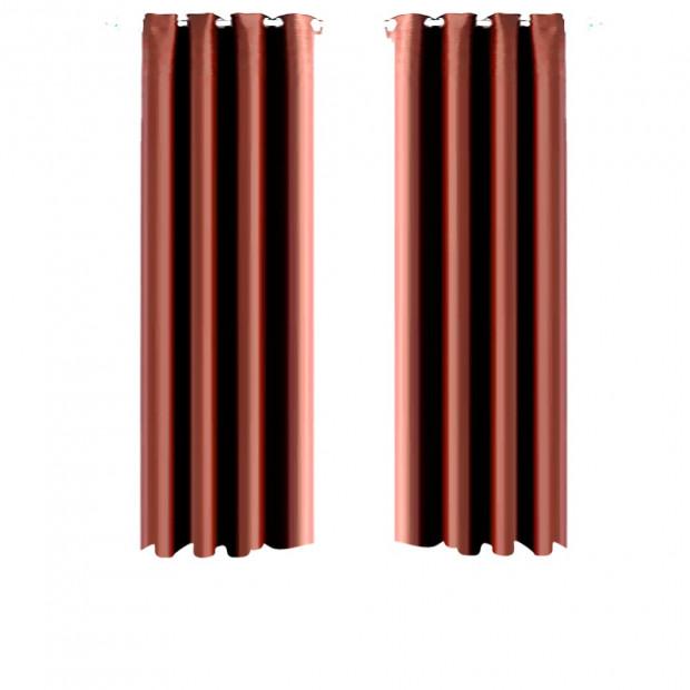 1 Pair Blockout Curtains Panels Chocolate 140x160cm