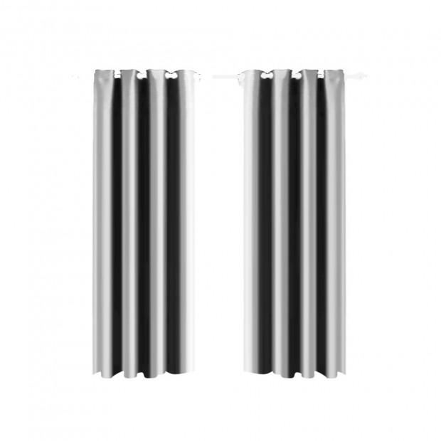 1 Pair Blockout Curtains Panels Grey 140x230cm