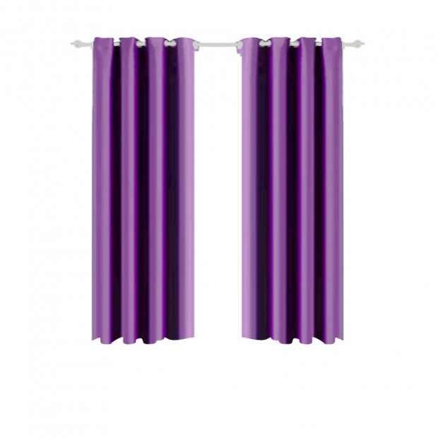 1 Pair Blockout Curtains Panels Blackout 3 Layers Purple 240x213cm