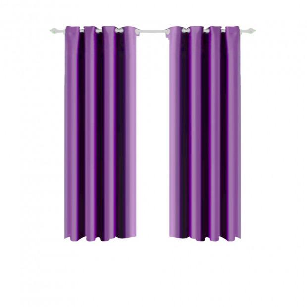 1 Pair Blockout Curtains Panels Blackout 3 Layers Purple 140x160cm