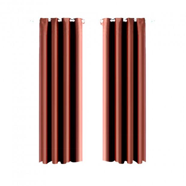 1 Pair Blockout Curtains Panels Chocolate 300x230cm