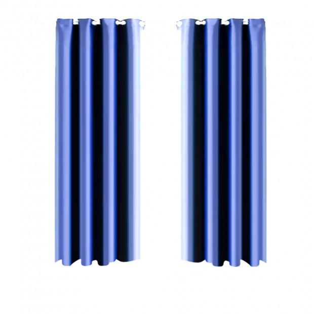 1 Pair Blockout Curtains Panels Blue 240x213cm