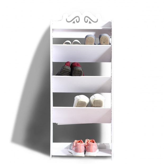 5 Tiers Tilt White Chic Hollow Out Shoe Rack