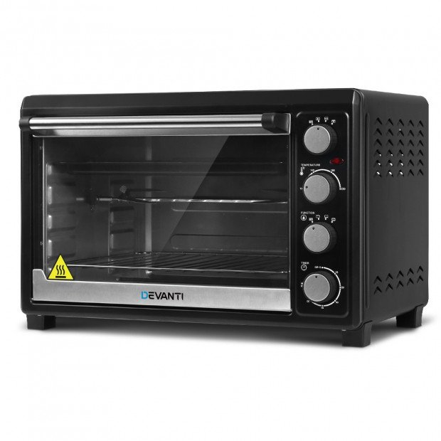 Electric Convection Oven Benchtop Rotisserie Grill 45L Black