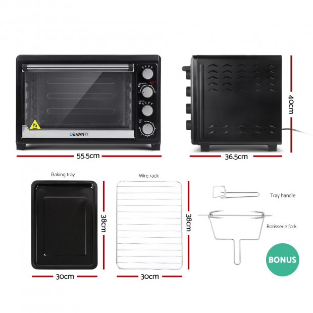 Electric Convection Oven Benchtop Rotisserie Grill 45L Black Image 3