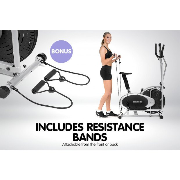 Powertrain 3-in-1 Elliptical cross trainer bike with Resistance Bands Image 6