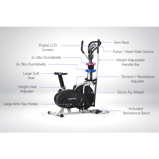 Powertrain 5-in-1 Elliptical Cross Trainer Bike with Dumbbells Image 3