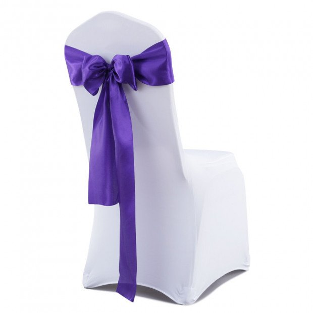 20 Pcs Wedding Party Event Home Decoration Satin Chair Sashes Eggplant Image 1