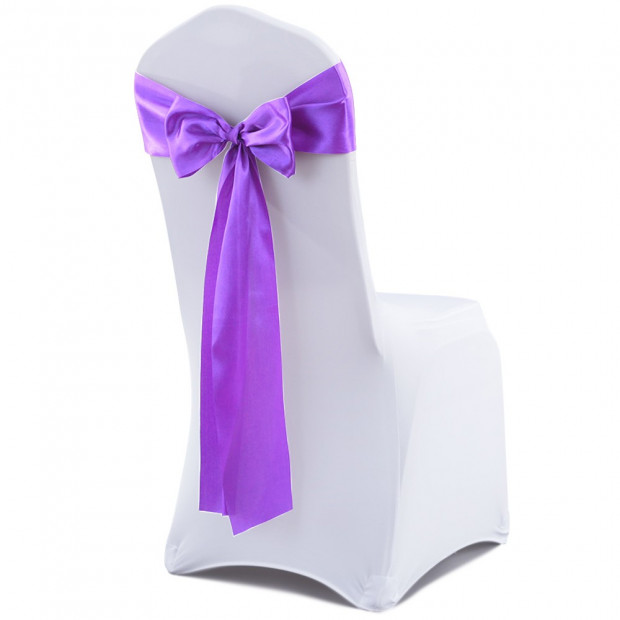 20 Pcs Wedding Party Event Home Decoration Satin Chair Sashes Lavender