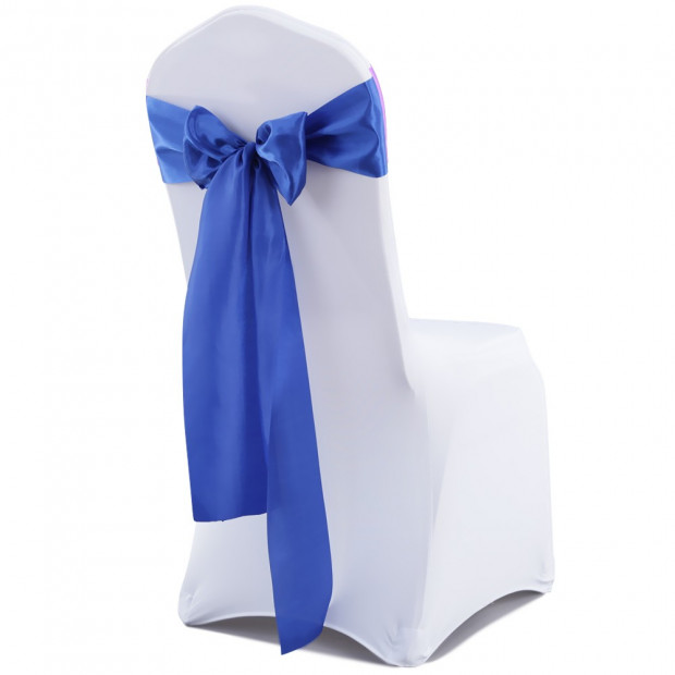 50 Pcs Wedding Home Party Decoration Satin Chair Sashes Navy Blue Image 1