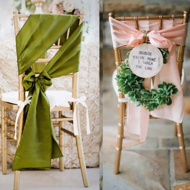 20 Pcs Wedding Party Event Home Decoration Satin Chair Sashes Eggplant Image 4