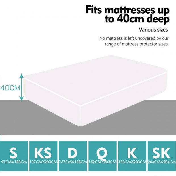 Waterproof Fitted Mattress Protector Topper Double Image 1
