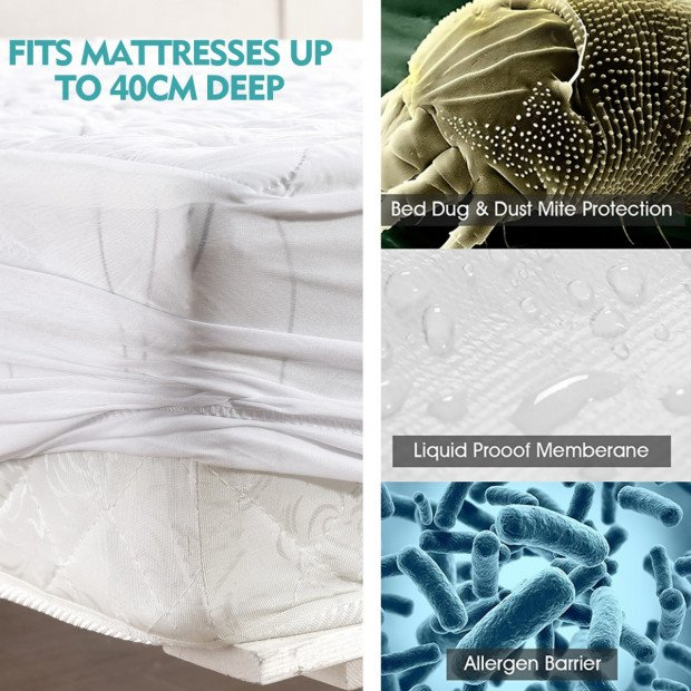 Waterproof Fitted Mattress Protector Topper Double Image 3