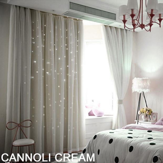 Single Panel Star Blockout Curtain Pure Fabric In Cream 140x230cm
