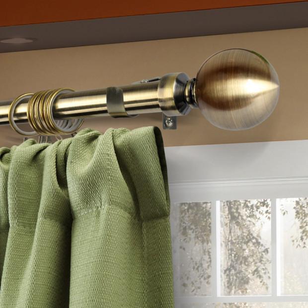 Curtain Rod Pole Rail Finial Set Extendable 190-380cm