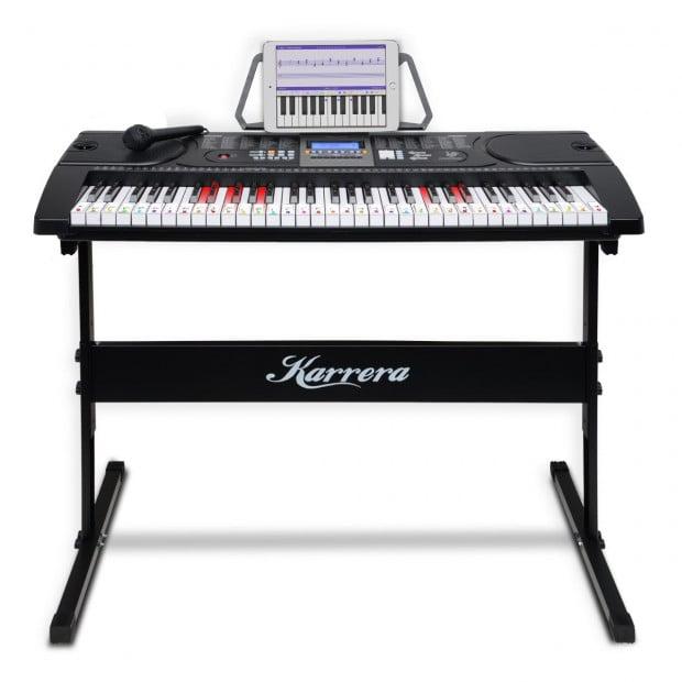Karrera 61 Keys Electronic LED Keyboard Piano with Stand - Black