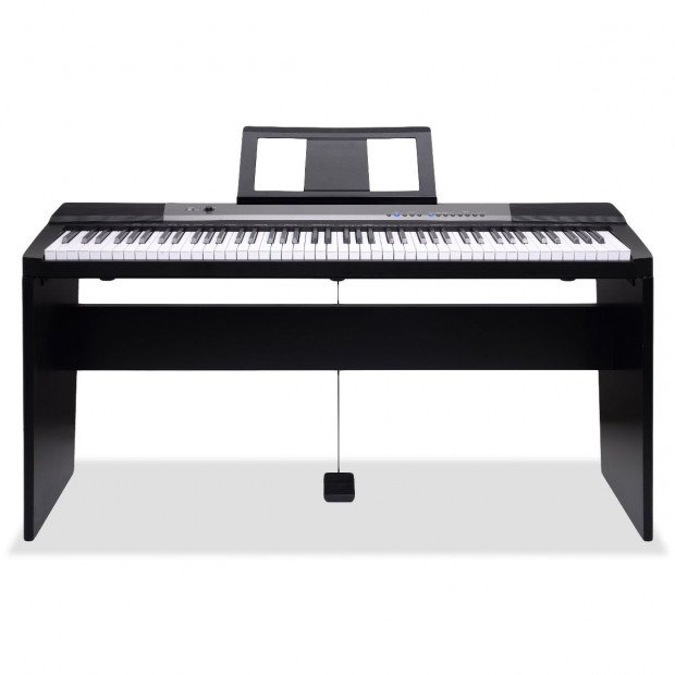 Karrera 88 Keys Electronic Keyboard Piano with Stand Pedal Black