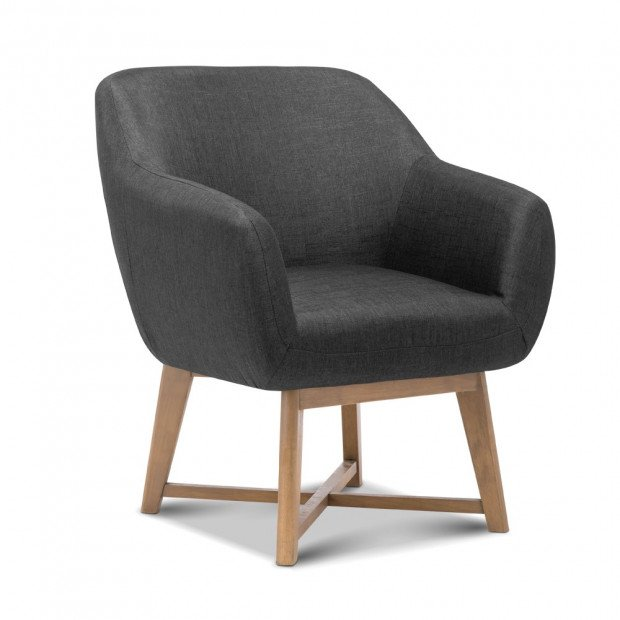 Aston Tub Fabric Accent Armchair - Charcoal