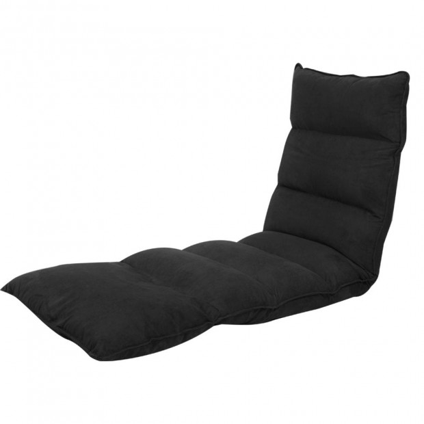 Adjustable Cushioned Floor Gaming Lounge Chair 174 x 56 x 15cm - Black Image 1
