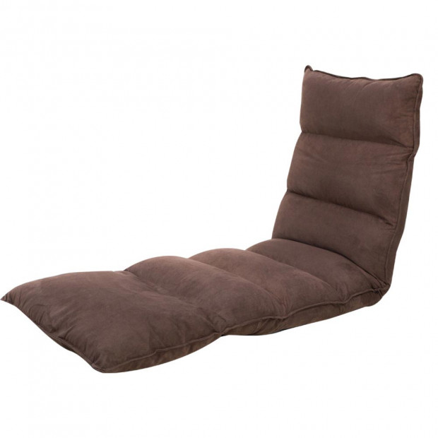 Adjustable Cushioned Floor Lounge Chair 174 x 56 x 15cm - Brown