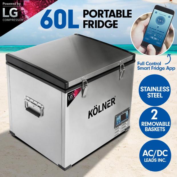 Kolner 60L Portable Fridge Cooler Freezer Camping with LG Compressor