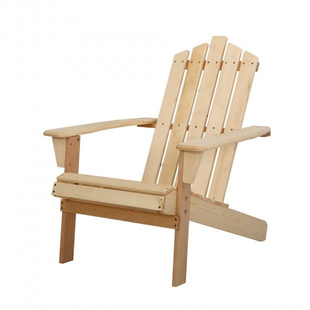 1x Outdoor Sun Lounge Beach Chairs Table Wooden Adirondack Patio