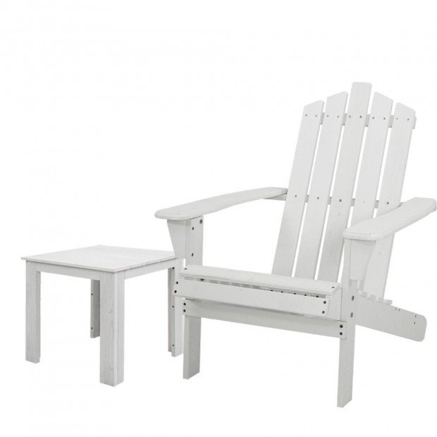 Outdoor Sun Lounge Beach Chair Table Set Wooden Adirondack Patio White
