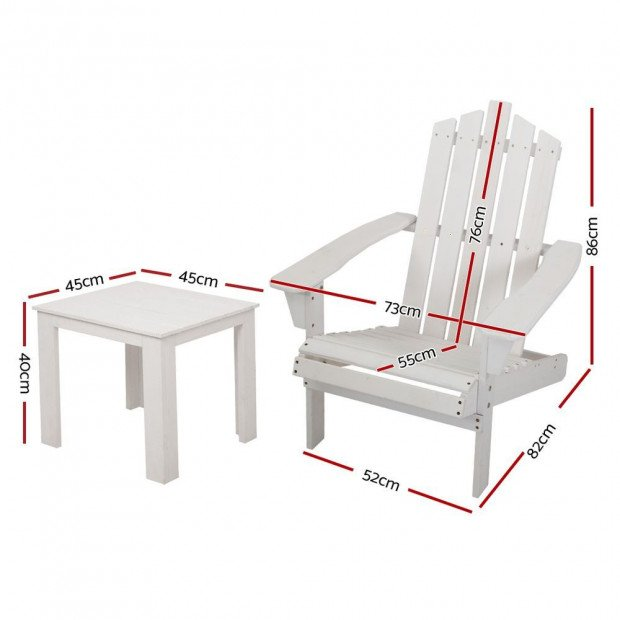 Outdoor Sun Lounge Beach Chair Table Set Wooden Adirondack Patio White Image 2