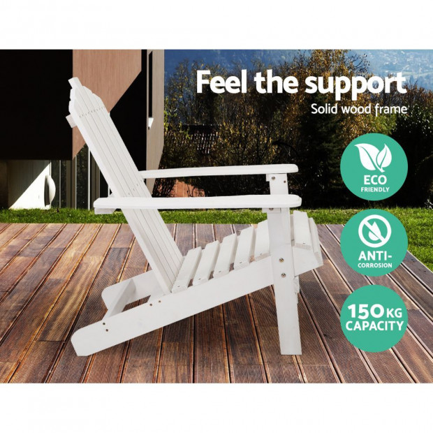 Outdoor Sun Lounge Beach Chair Table Set Wooden Adirondack Patio White Image 3