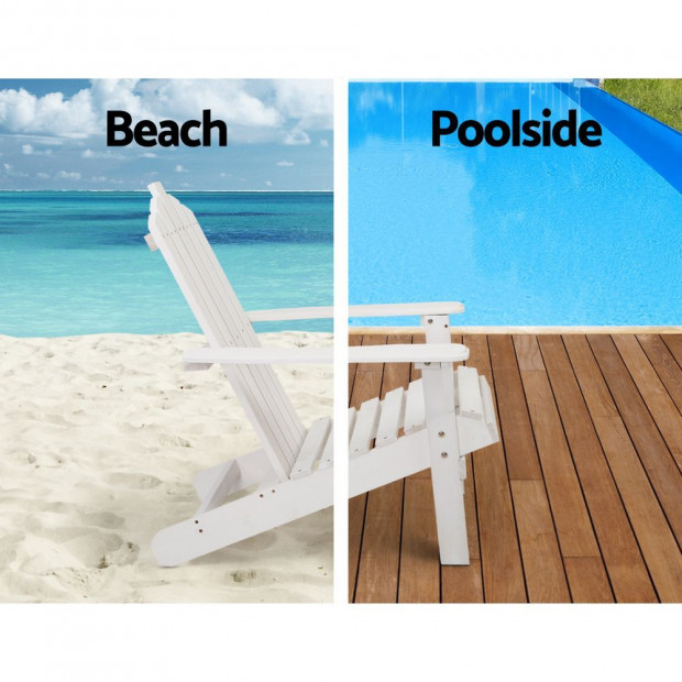 Outdoor Sun Lounge Beach Chair Table Set Wooden Adirondack Patio White Image 5